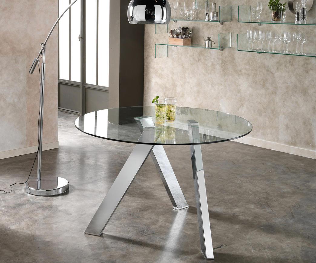 Tavoli Rotondi In Cristallo Design.Tavolo In Vetro Rotondo Rondo Di Stones Om 221 Duzzle