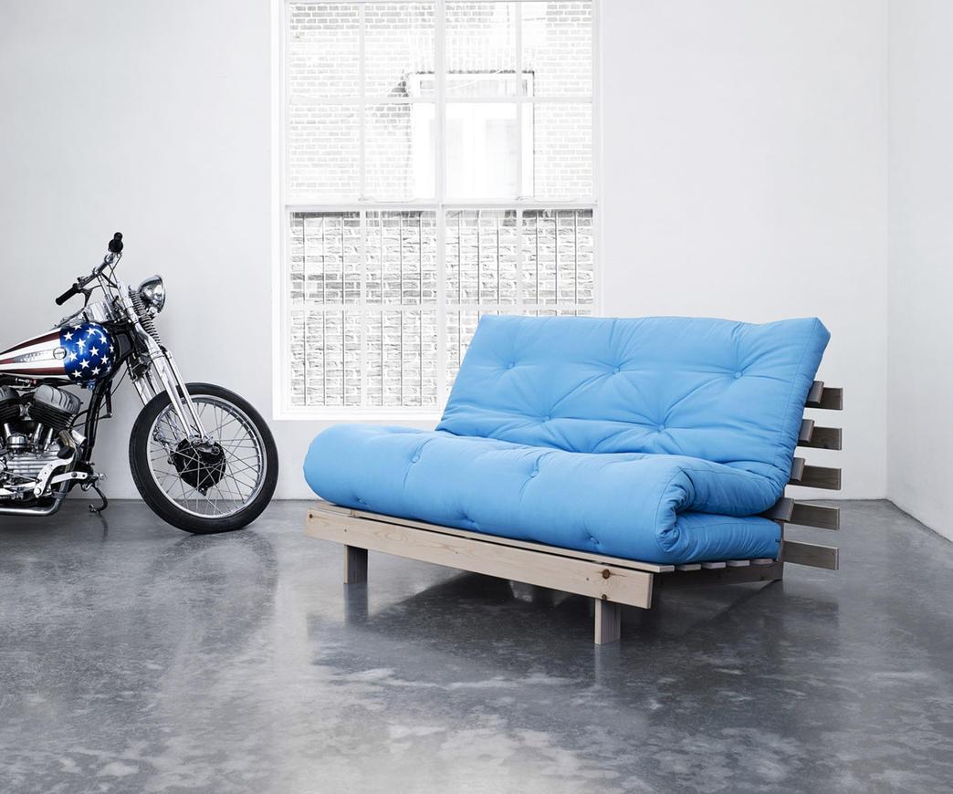Divano letto roots 140 cm karup azzurro struttura natural - Divano letto azzurro ...