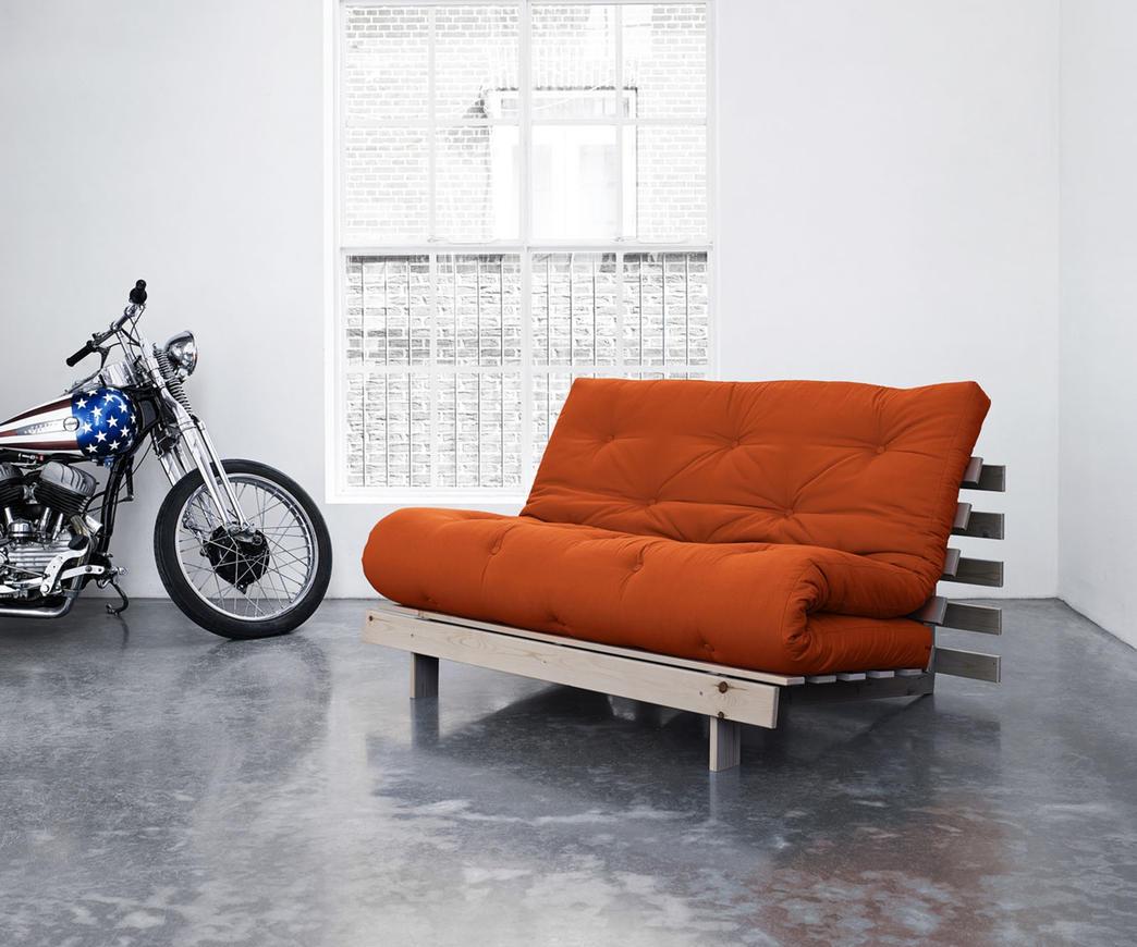 Divano Letto Roots 140 cm Karup arancione struttura natural | Duzzle