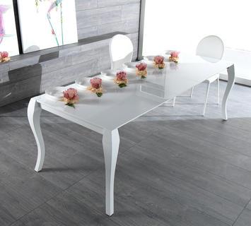 Duzzle tavolo shining allungabile legno laccato bianco stones