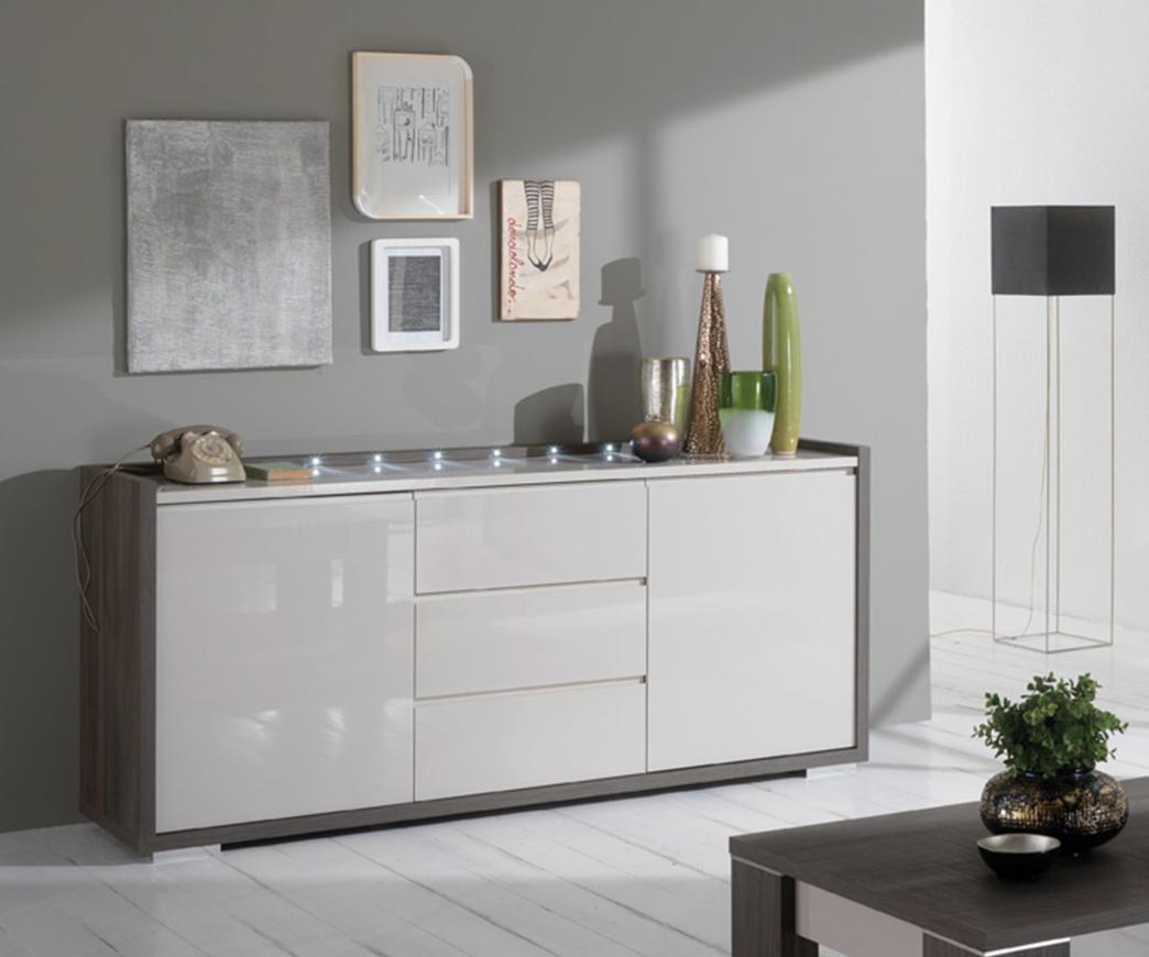 Credenza Moderna Con Led : Vetrina moderna ante con led incluso bianco lucido e rovere