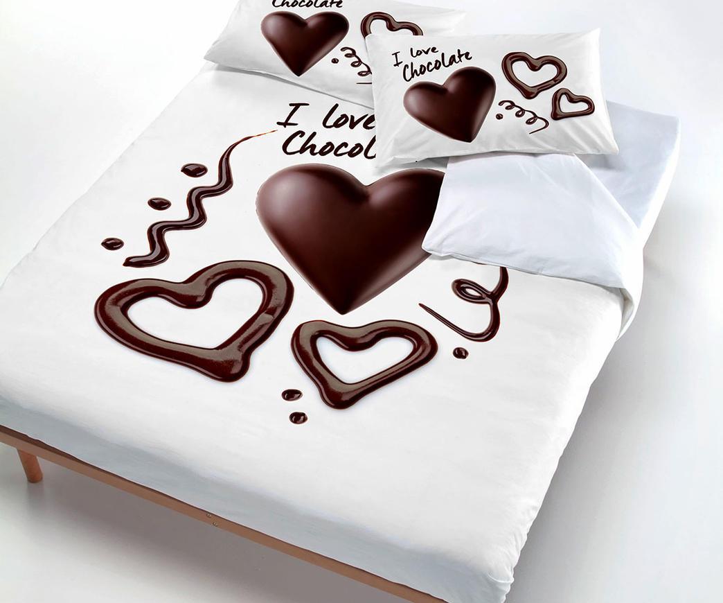 Datex Trade Copripiumino.Parure Copripiumino 1 P E Mezza Chocolate Duzzle