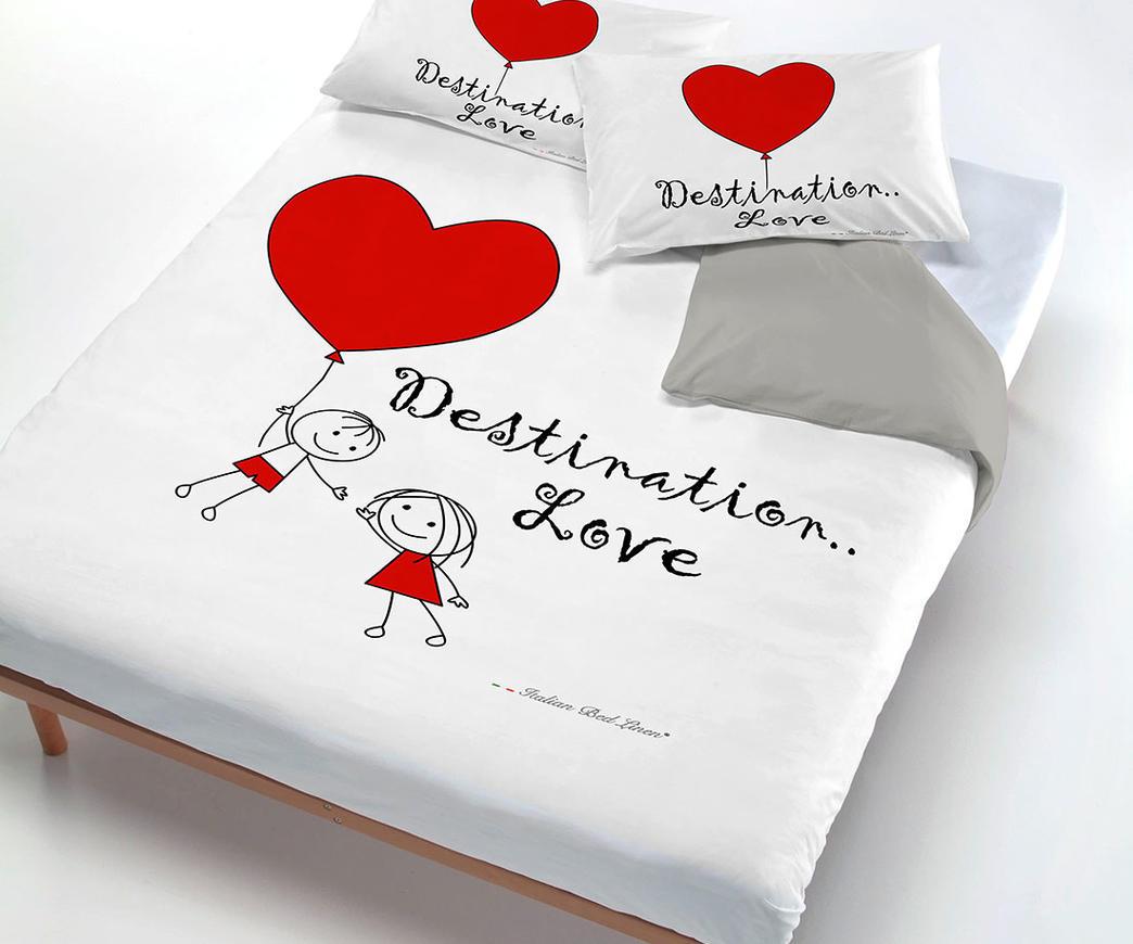 Datex Trade Copripiumino.Parure Copripiumino 2 Piazze Destination Love Duzzle