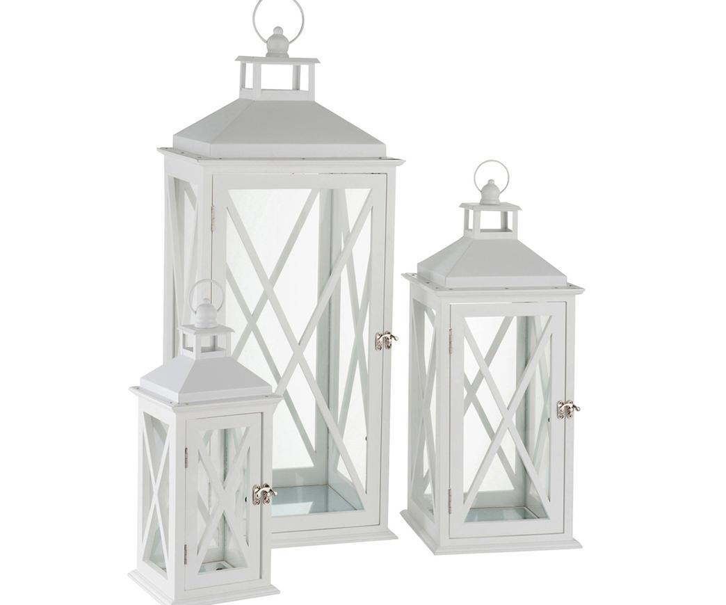 Lanterna grande in legno bianco duzzle for Amazon oggettistica