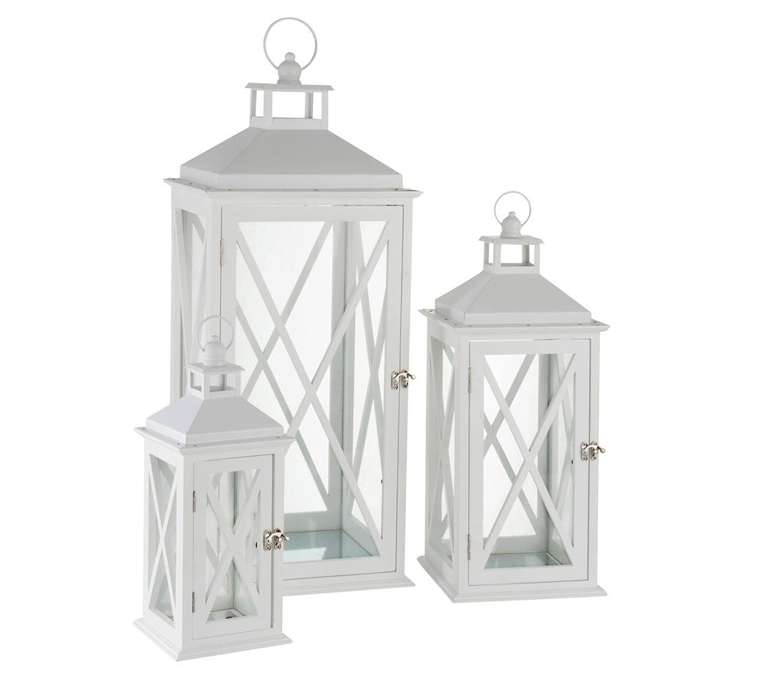 Lanterna grande in legno bianco duzzle for Lanterne da arredo