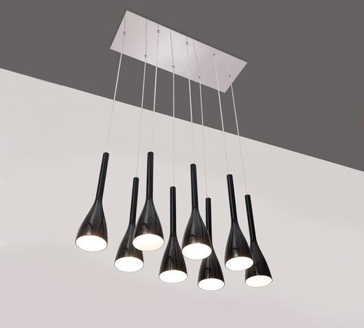 Duzzle serie lampade sospensione nero stones illuminazione acceso