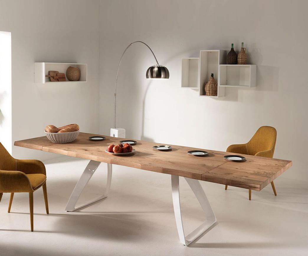 Tavolo da pranzo allungabile bridge base bianca fino a for Tavoli da pranzo in legno