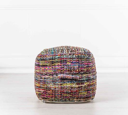 Duzzle puff cubo fatto a mano cotone multicolor stones complementi fronte