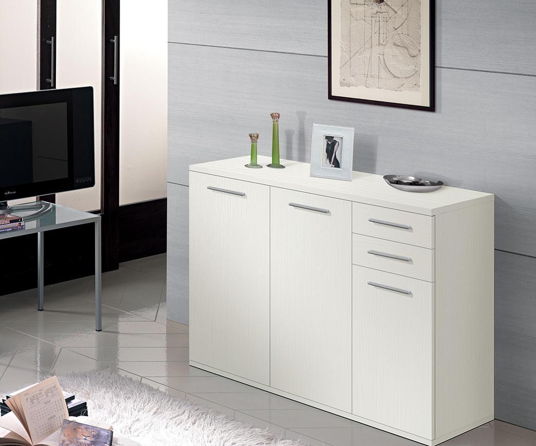 meubl de rangement 3 portes+2 tiroirs blanc ref 42po3bg