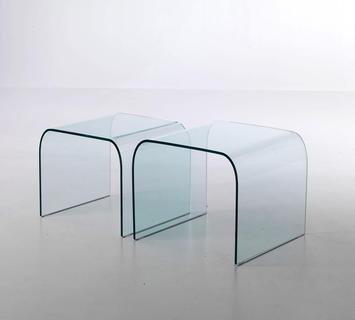 Coppia tavolini ponte vetro curvato manhattan