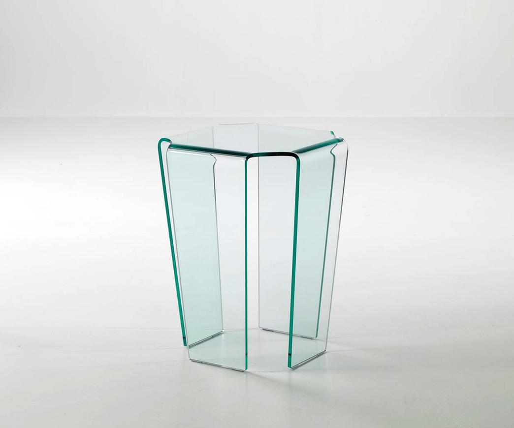 Tavolino In Cristallo Curvato.Tavolino Alto In Vetro Medusa
