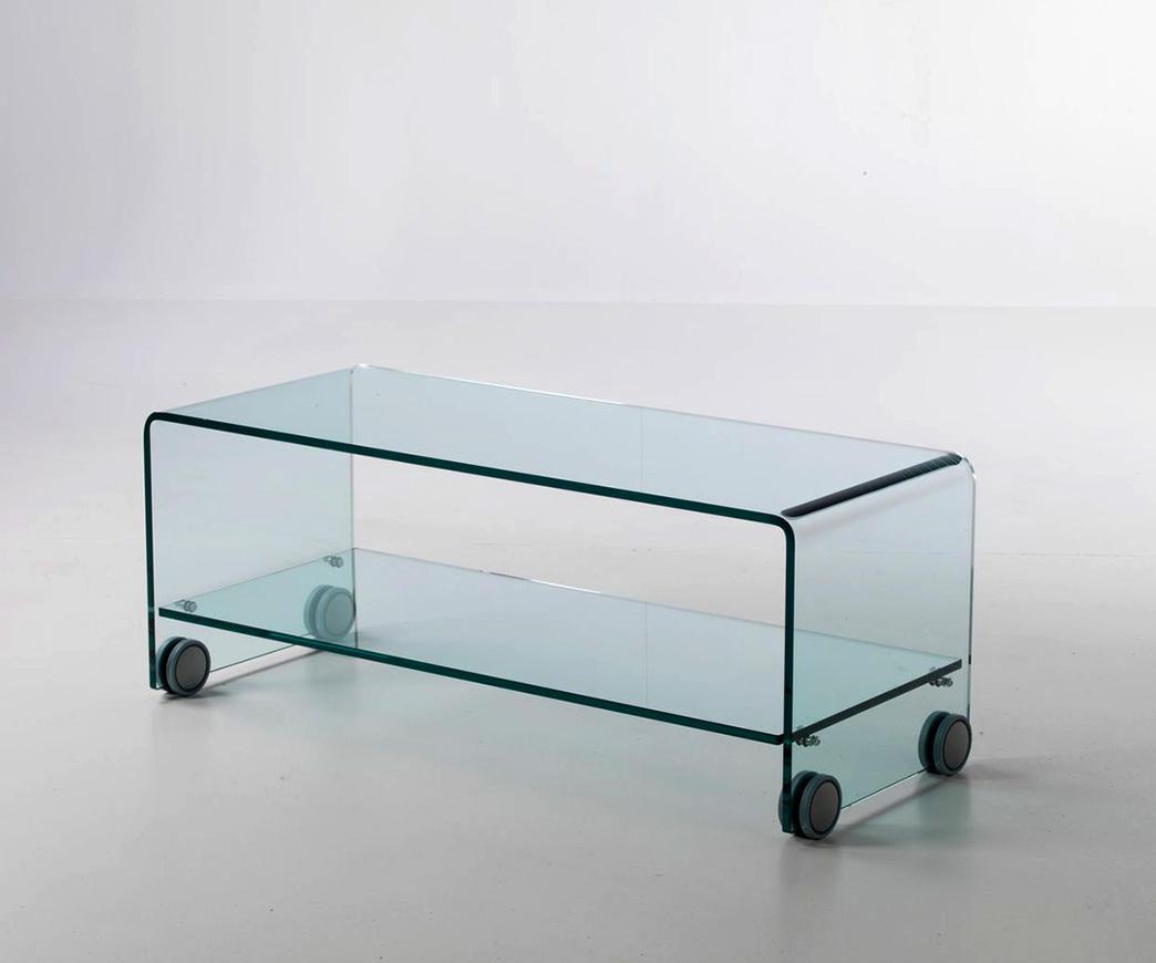 Porta tv in vetro con ruote berlino duzzle for Ruote arredamento