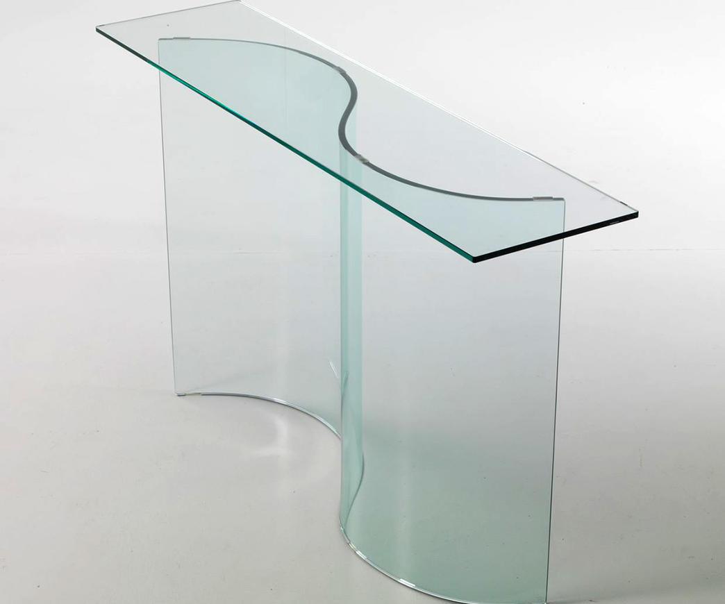 Consolle in vetro curvato fata duzzle for Consolle in vetro per ingresso