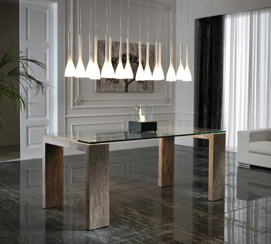 Duzzle tavolo a stones millerighe in vetro e pietra marrone