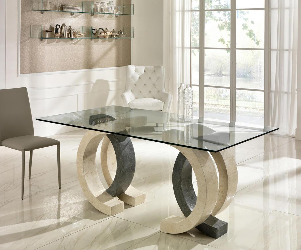 Tavolo Da Pranzo In Vetro : Tavolo da pranzo olimpia in pietra bianca e grigia top fs