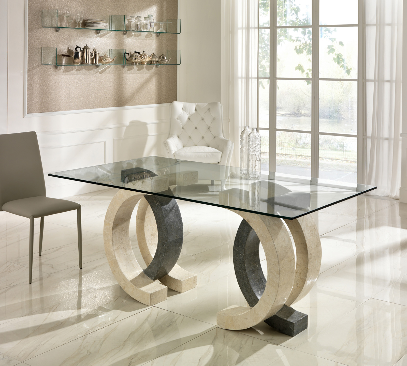 Tavolo da pranzo olimpia in pietra bianca e grigia top 200 - Mobiletti in vetro ...