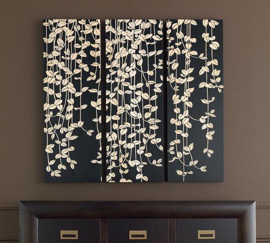 Duzzle pannello ufficio legno nero con fiori flow fusion design