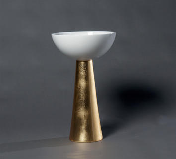 Duzzle vaso legno bianco oro azigzag oggettistica