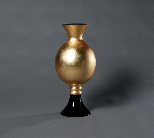 Duzzle vaso laccato oro nero azigzag oggettistica