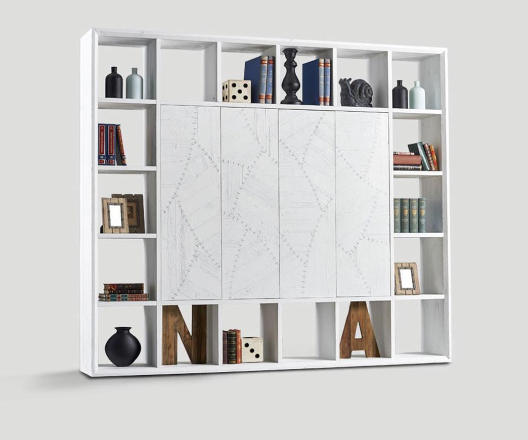 Libreria in legno invecchiato con ante centrali bianca for Libreria a muro bianca