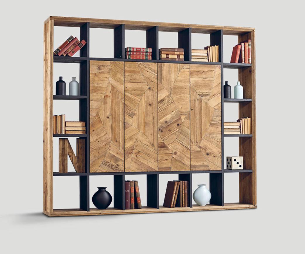 Libreria in legno invecchiato con ante centrali Natural | Duzzle