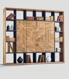 Libreria in legno invecchiato con ante lavagna   Duzzle