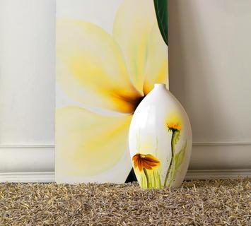 Duzzle vaso decorato bianco in ceramica azigzag
