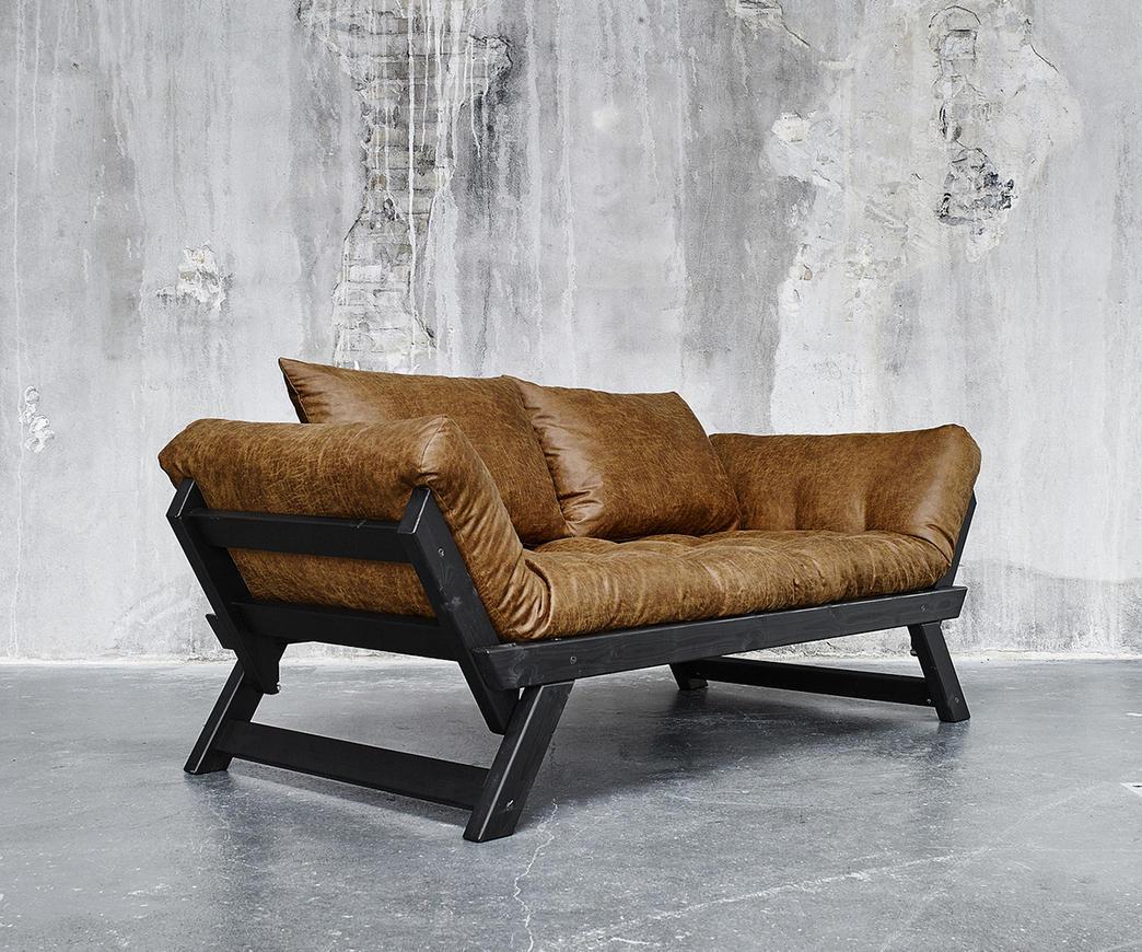 Divano bebop karup vintage color cognac struttura nera for Divano letto vintage