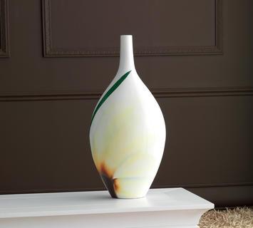 Duzzle vaso ceramica dipinto colore bianco azigzag
