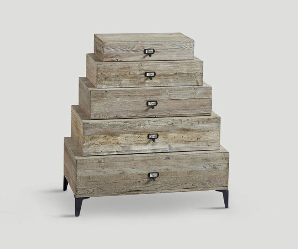 cassettiera 4 cassetti in legno invecchiato Natural | Duzzle