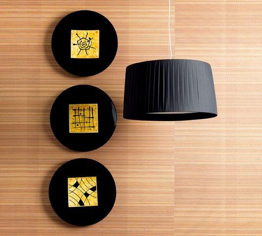 Duzzle piatti decorati colore nero oro azigzag