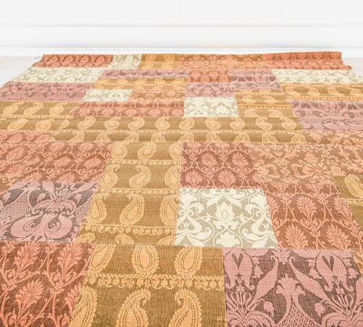 Duzzle tappeto realizzato a mano lana rosa oro viola stones
