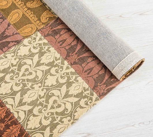 Duzzle tappeto realizzato a mano lana rosa oro viola stones angolo