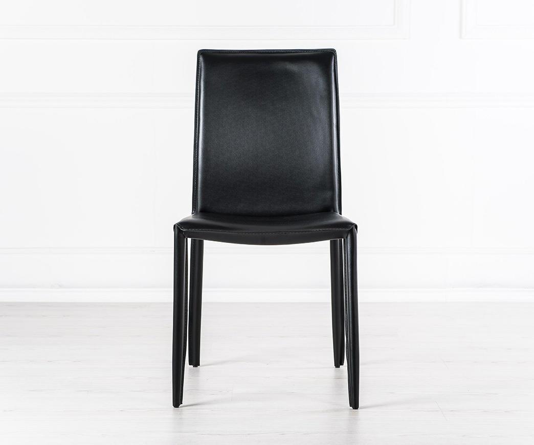 Sedia in cuoio rigenerato nera lola duzzle for Sedie in cuoio
