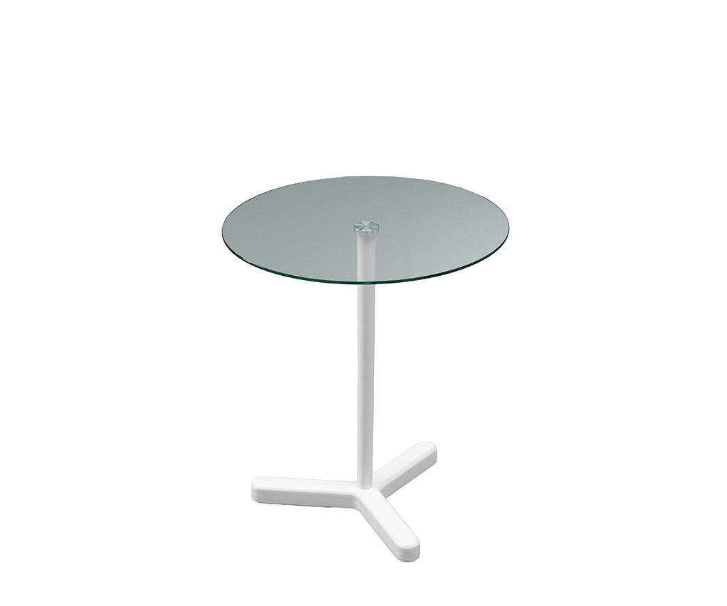 Tavolino Leo con base in legno bianco e top in vetro