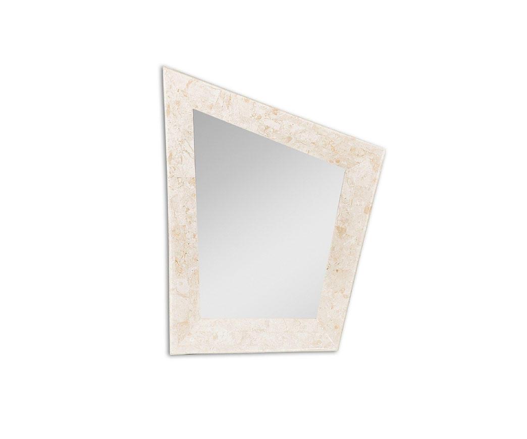 Specchio diamond con cornice in pietra bianca fs 163 wa a - Specchio cornice bianca ...