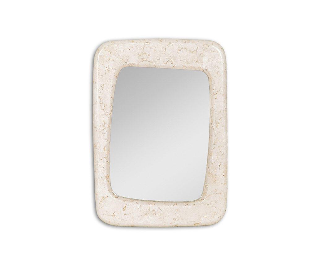 Specchio smooth con cornice in pietra bianca fs 165 wa a duzzle - Specchio cornice bianca ...