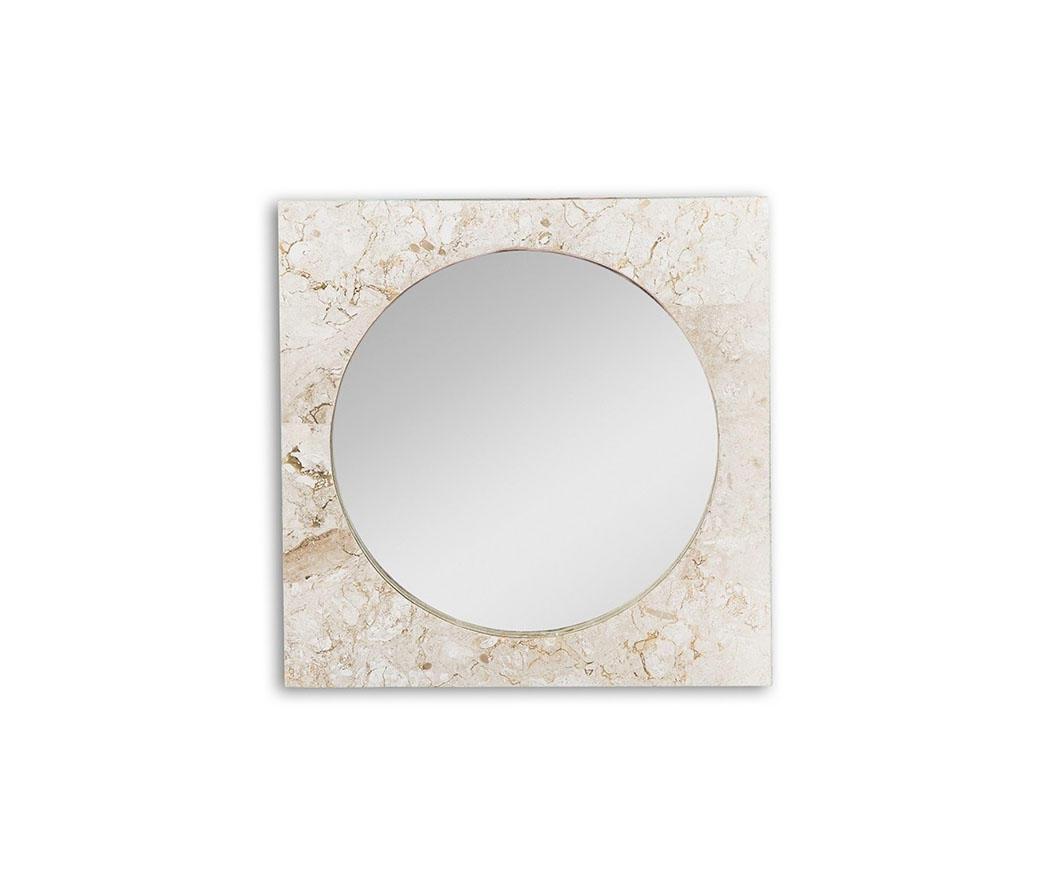 Specchio square con cornice in pietra bianca fs 166 wa a duzzle - Specchio cornice bianca ...