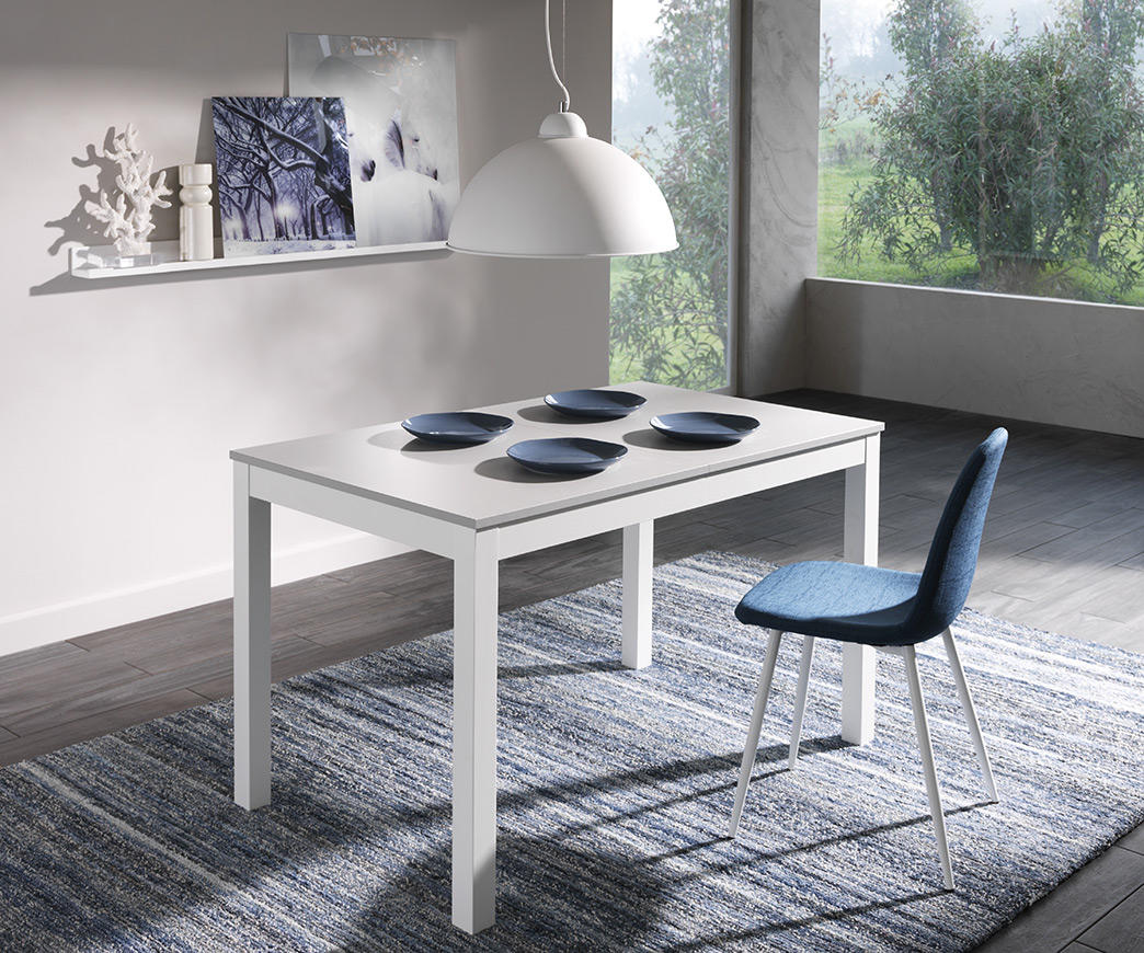 Tavolo Bianco In Legno tavolo allungabile target in legno di faggio grigio/bianco (130/210 x 80 cm)