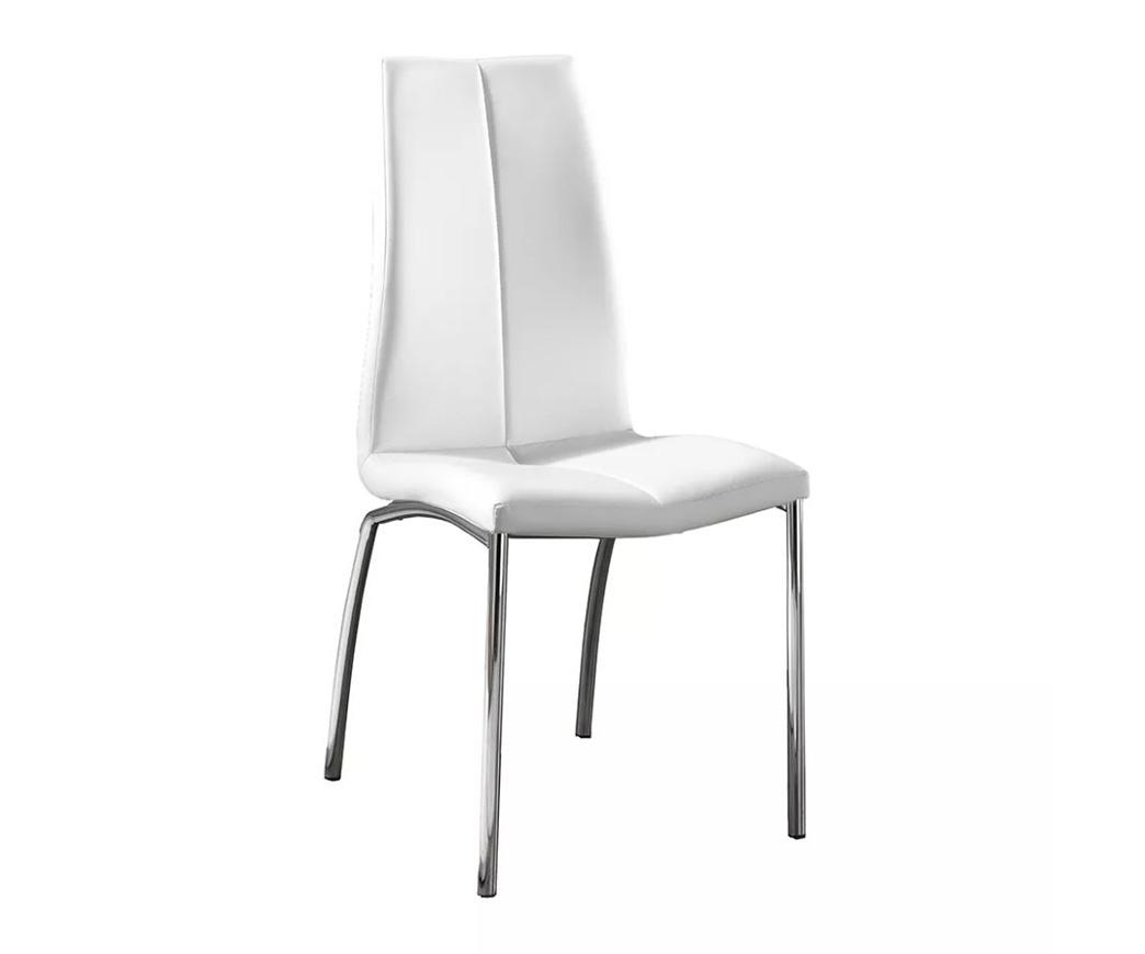 sedia gambe cromate quadre e seduta bianca