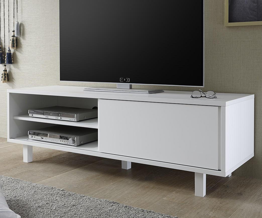 Porta Tv Bianco Opaco.Porta Tv George Bianco Opaco Con Anta Scorrevole E Cassetto