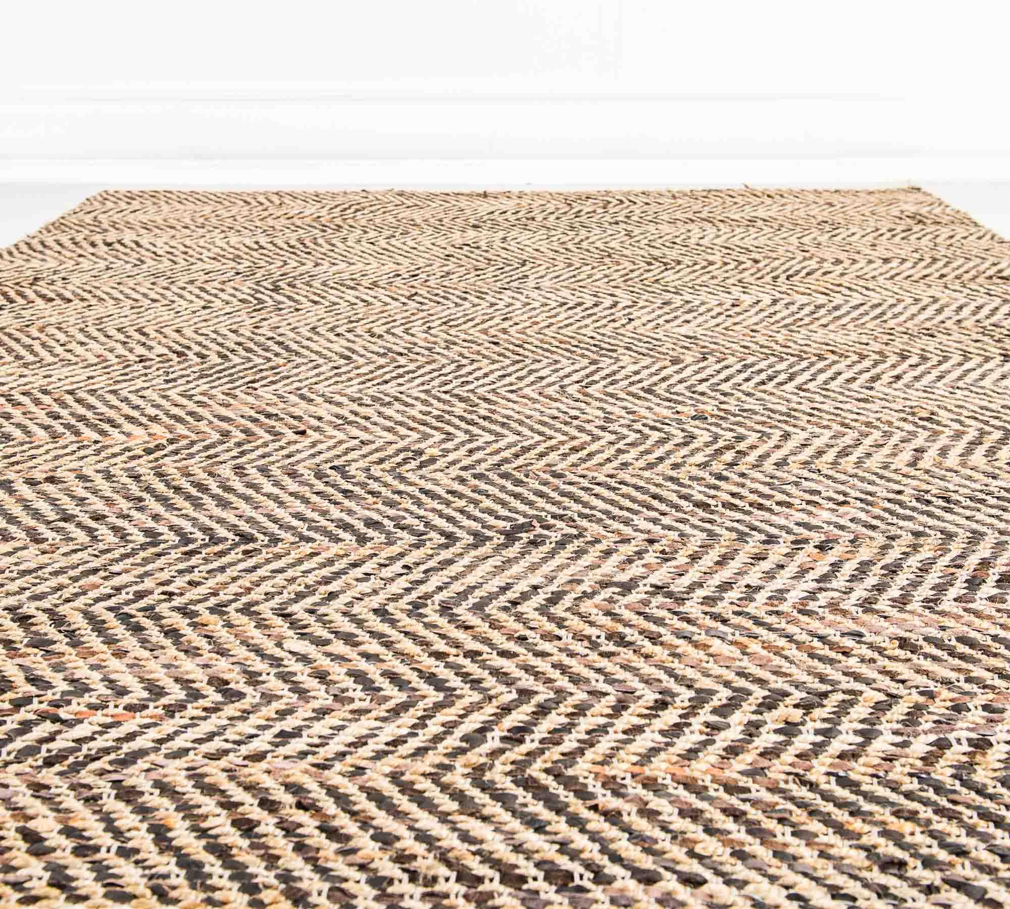 Tappeto in juta e pelle marrone 200 x 300 cm duzzle for Amazon tappeti bagno