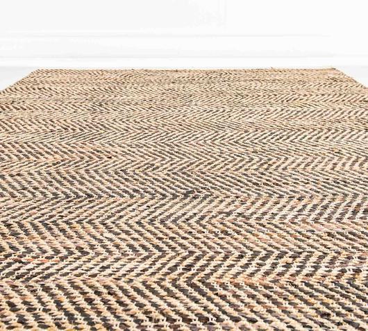 Duzzle tappeto juta pelle fatto a mano stones