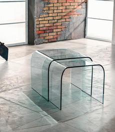 Comodini, tavoli, scrivanie e porta tv in vetro curvato trasparente ...