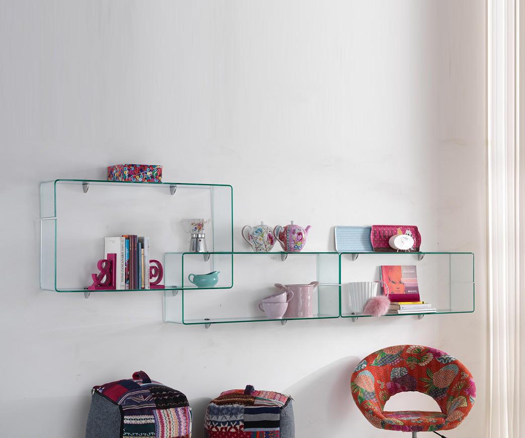 Libreria in vetro trasparente crossroad