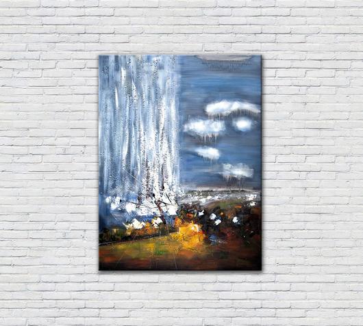 Duzzle quadro verticale cielo astratto azzutto stones