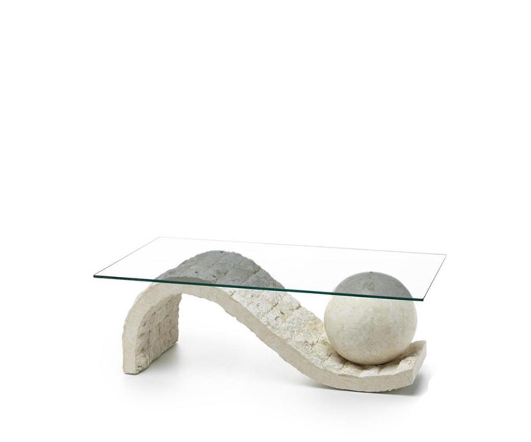 Tavolini Da Salotto Cristallo E Pietra.Tavolino Onda In Pietra Fossile Bianca Fs 130 Wa A