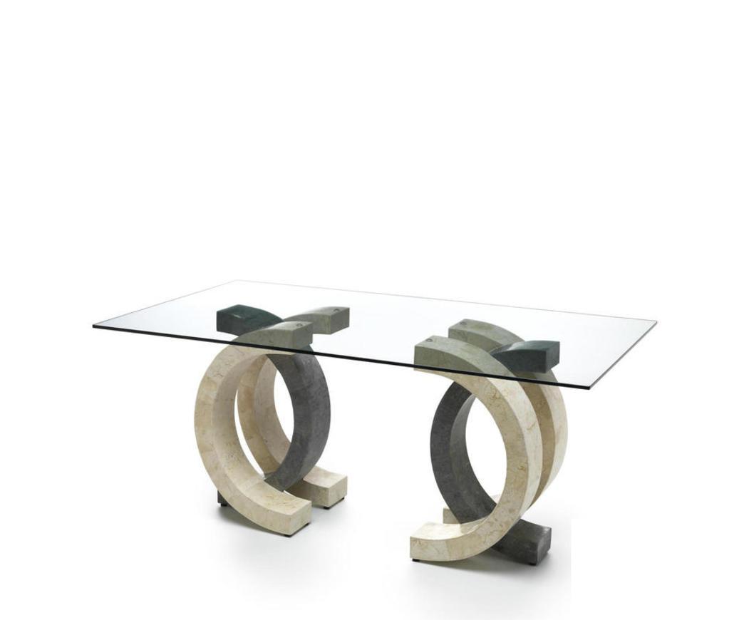 Dimensioni Tavolo Pranzo 12 Persone tavolo da pranzo olimpia in pietra bianca e grigia top 200 fs/023/wags/b