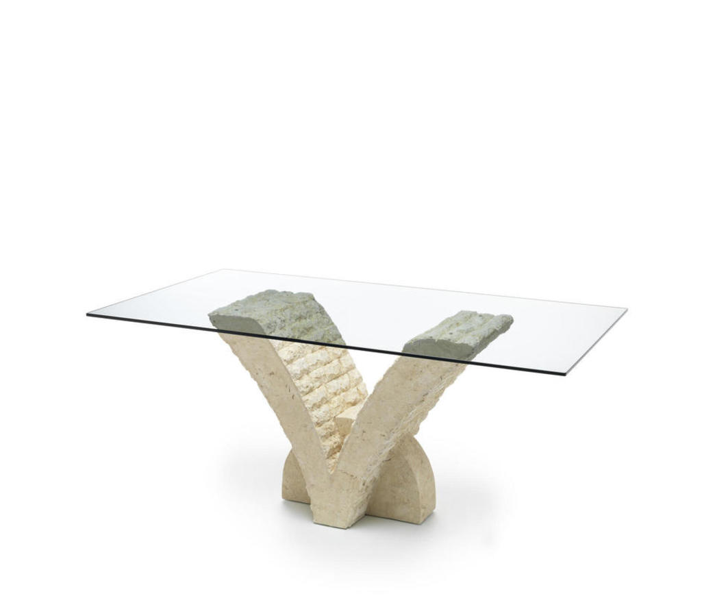 Tavolo papillon in pietra bianca top 180 cm fs 022 m a for Tavolo vetro allungabile amazon