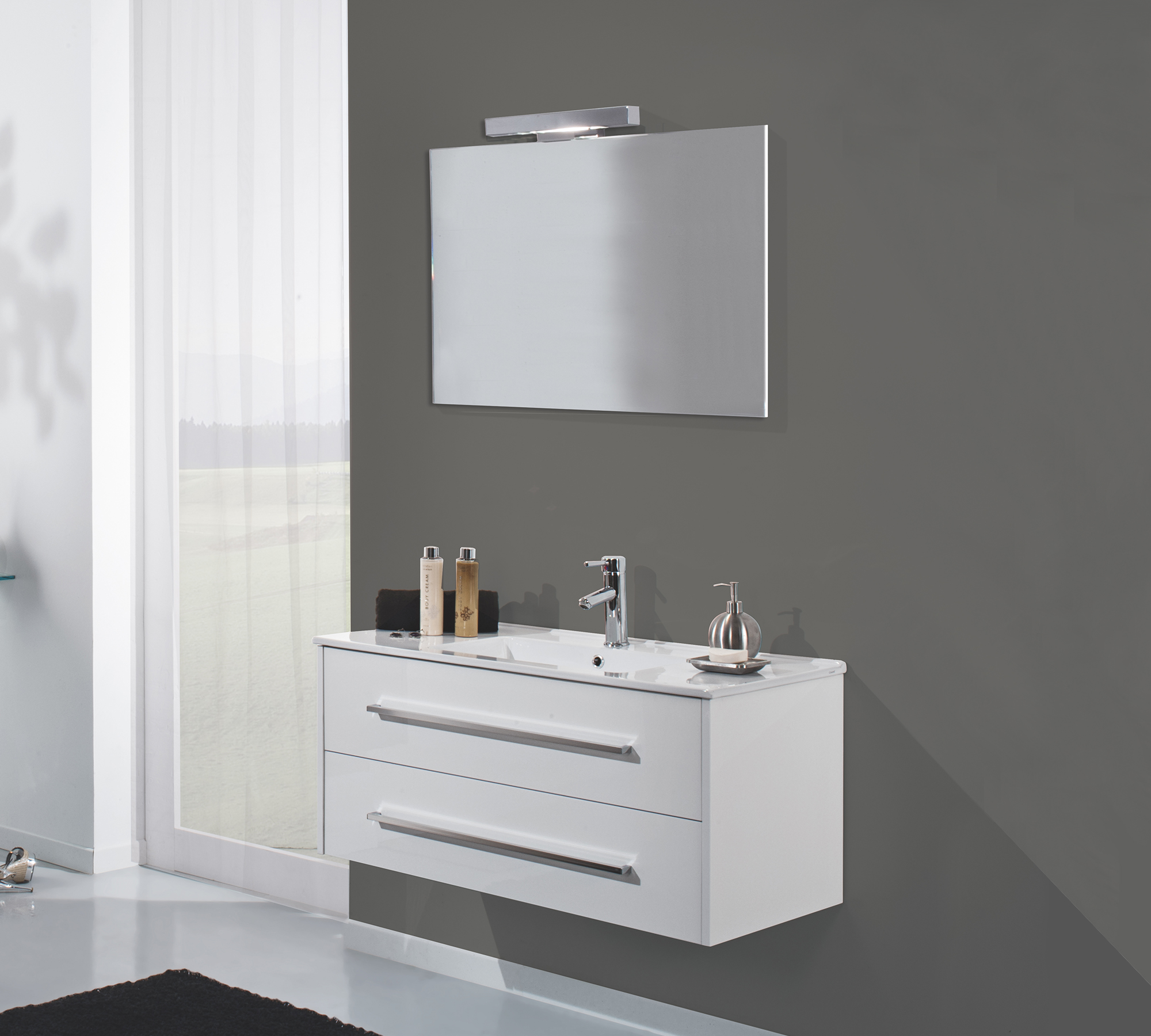 Arredo bagno moderno bianco duzzle for Consolle leroy merlin